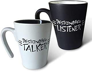 His and Hers couples coffee mug – Designated Talker/Designated Listener - A great gift for anniversaries, wedding and engagements and Valentine's Day, or just for the one you love! Set of 2