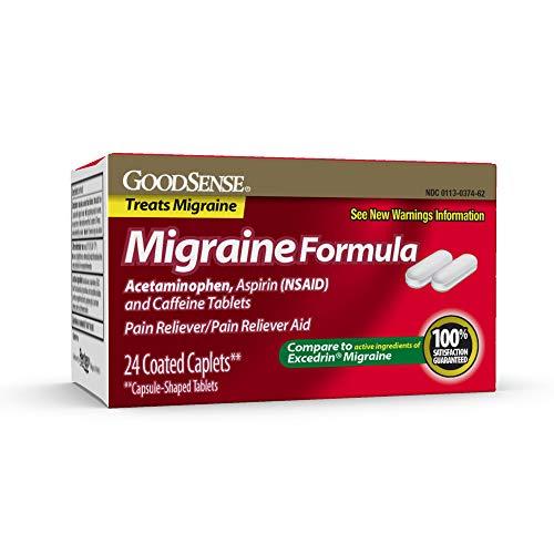 GoodSense Migraine Formula Caplets, Acetaminophen, Aspirin (NSAID) and Caffeine Tablets, Migraine Pain Relief, 24 count