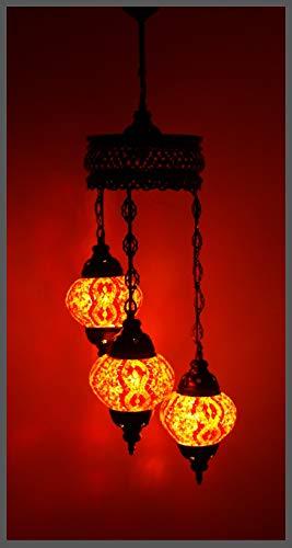 Handgefertigte Orientalische Mosaiklampe Mosaik Glas Hänge Lampe Innenleuchte Pendelleuchte Deckenleuchte Aussenleuchte Handarbeit Hängeleuchte Hängelampe Größe 2 / ORANGE/Samarkand-Lights