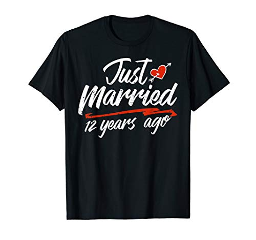 Wedding Anniversary Couple Gift Just Married 12 Years Ago T-Shirt