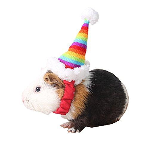 Keersi - Sombrero de Navidad para mascota, diseo para hmster sirio, chinchilla, cobaya, conejo, disfraz o complemento divertido