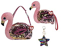 Gilda Changing Glitzy Sequins Plush Purse With Keychain