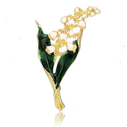 Women's Alloy Enamel White Floral Leaf Brooch Lily Gold Brooch Quality Jewelry Pin Suit Lapel Badge Decor