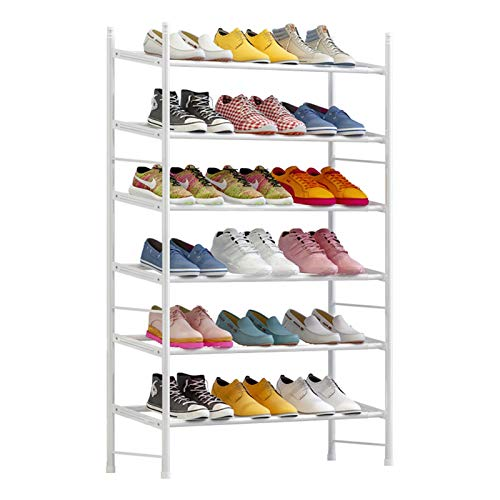 MICEROSHE Zapatero Conveniente Organizador de Almacenamiento de Zapatos expandible y Ajustable. Estante de Zapato apilable de 6 Capas Regalos para el Hogar (Color : Blanco, Size : (60-110) X22x100cm)