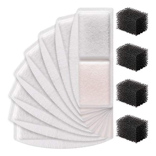 Veken 8 Pack Replacement Filters & 4 Pack Replacement Pre-Filter Sponges for 100oz/3L Automatic Pet Fountain Cat Water Fountain Dog Water Fountain
