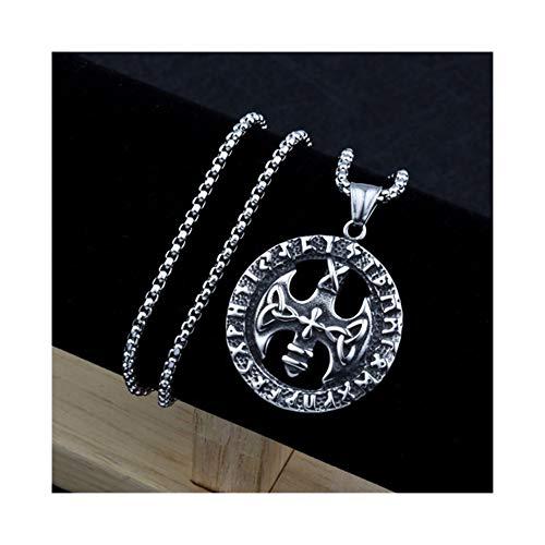 AdorabFruit Présent Pendentif Cruz de Plata de la Vendimia del Collar de los Hombres Tomahawk Colgante Accesorios Collar (Metal Color : Silver)