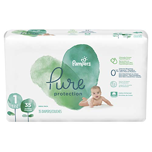 Diapers Newborn/Size N (>10 lb), 32 Count - Pampers Pure Protection Disposable Baby Diapers, Hypoallergenic and Unscented Protection