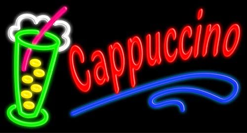 Cappuccino Glass neon 4 At the price years warranty Sign #10428 in Made USA