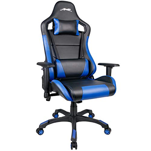 Leopard Gaming Chair, High Back PU Leather Office Chair, Swivel Racing Chair with Adjustable Armrest - Black/Blue blue chair gaming