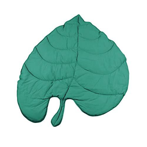 Rehomy Alfombra de juego para bebé, de algodón suave, color verde, con hojas de gary y hojas para dormir para bebé