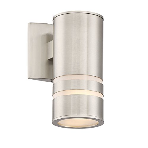 "Kira Home Rockwell 8.5"" Modern Cylinder Outdoor Light/Wall Sconce, Brushed Nickel Finish"
