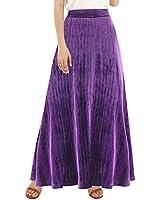 BENANCY Women's High Waist Shirring Maxi Skirt with Pockets Purple 2X