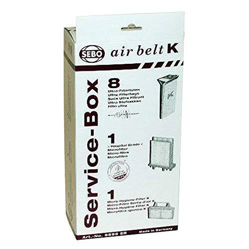 Sebo Airbelt K2 Kombi & K3 Kanister Staubsauger-Servicebox, 8 Stück, Originalteil # 6695ER, 6695AM