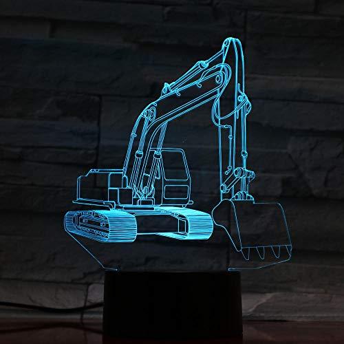 Lámpara De Ilusión 3D Luz Nocturna Led Novedad Luz De Emergencia Excavadora Lámparas Led Para Niños Placa De Plexiglás Escultura De Arte Decoración De Noche Interior Bombilla De Iluminación