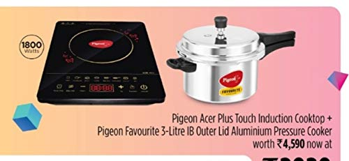Pigeon by Stovekraft Induction Cooktop Combo Offer Pack of One Acer Plus Induction Stove and one Favourite 3 litres Aluminium Pressure Cooker with Induction Base
