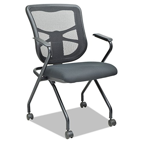 Alera Elusion Mesh Nesting Chairs, Black (Case of 2)