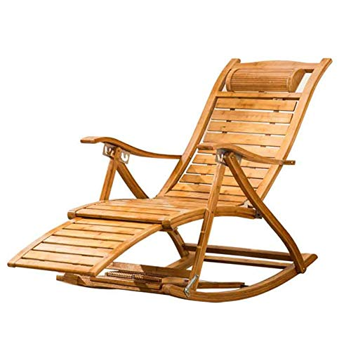 Fauteuils inclinables Feifei Salon en Bois Chaise en Bambou réglable en Plein air Transats Pliant Chaise Longue Chaise Siesta Portable Garden Patio Beach Chair