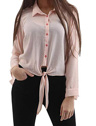 Hi Fashionz Damen Langarm Blumendruck Kragen Krawatte Knoten Top Damen Einfacher Knopf Cropped Bluse Shirt Nude EU 36