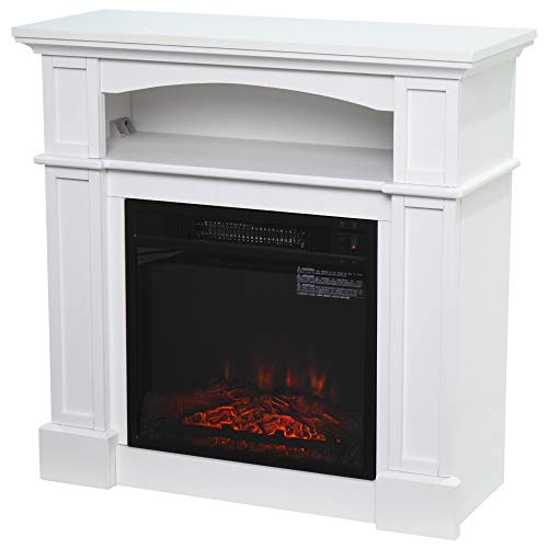 HOMCOM 32' 1400W Freestanding Portable Full Frame Electric Fireplace Stove Heater with LED Flame Log Effect, White