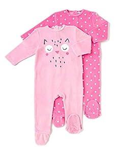 TEX - Pack 2 Pijamas para Bebé Niña y Niño, Pelele, con Pies, Estampado, Rosa, 23 Meses