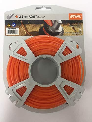 Stihl Mähfaden rund Ø 2,4 mm x 41 m Filo per falciatura, Colore: Arancione, 43m