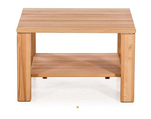 Couchtisch stabverleimt Tisch Kernbuche massiv Rollen Ablage 70x70 Sofatisch
