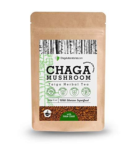ChagaLaboratories - Chaga Taiga Kräutertee, Chaga Granulat mit Ivan Chai, aus sibirischer Wildsammlung als Nahrungsergänzungsmittel, 113 Gramm