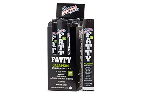 Sweetwood Smokehouse Fatty Meat Stick   Jalapeno Flavor   20 Pack   2 oz Sticks   USA Grass Fed Beef, Antibiotic Free Pork   Keto, Gluten Free, Slow Smoked Meat Snack   No Nitrites or Added MSG