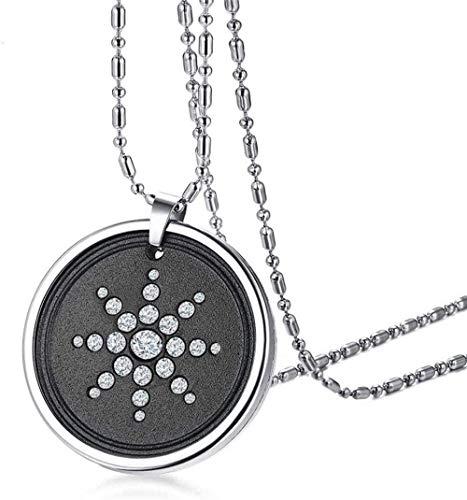 NC110 Collar con Colgante de Acero de Titanio + Piedra volcánica de Diamantes de imitación, joyería de Moda para Hombres, joyería con Cadena de 65 cm YUAHJIGE