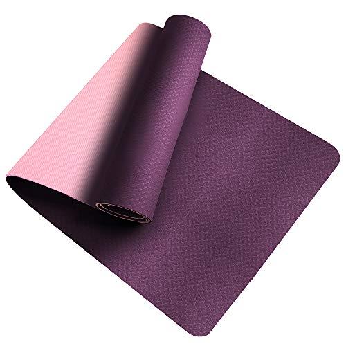 Tappetino da Yoga , Ecologico TPE Double-Sided Antiscivolo Yoga Mats Tappetino Palestra per Fitness Pilates e Ginnastica 181 cm x 61 cm x 0.6 cm (Viola-Rosa)