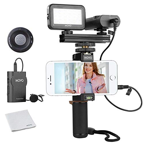 Movo Wireless Smartphone Video Kit V2 with Grip Rig, Wireless Lavalier Microphone, LED Light and Wireless Remote - YouTube Equipment for iPhone 5, 5C, 5S, 6, 6S, 7, 8, X, XS, XS Max, Samsung Galaxy