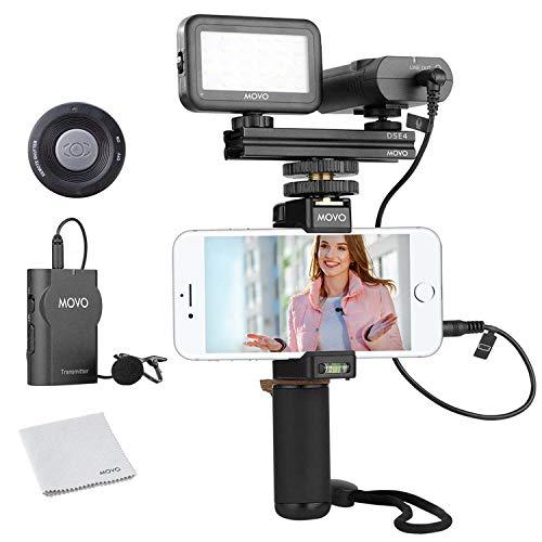 Movo - Kit video per smartphone V2 con impugnatura Rig, microfono Lavalier wireless, luce LED e telecomando senza fili, per iPhone 5, 5C, 5S, 6, 6S, 7, 8, X, XS (regolari e Plus/Max), Samsung Galaxy