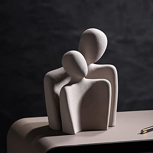 Smile Diary Figuras de arte abstracto abrazan decoraciones de cerámica creativas sala de estar TV gabinete porche oficina escritorio suave decoraciones (combinación Grey-Hug)