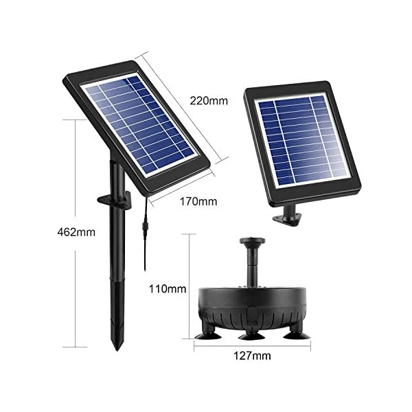 COCOMIA 3.5W Solar Fuente Bomba, LED Solar Bomba de Estanque Kit, Fuente de Jardín Solar para Estanque de Jardín y…