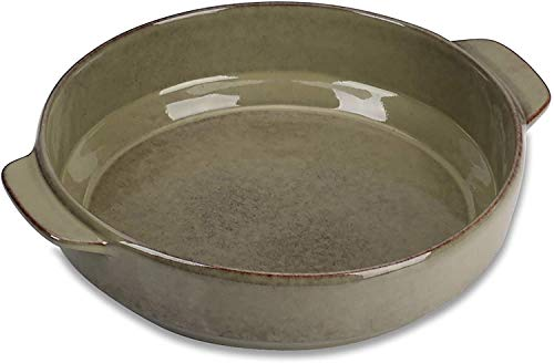 vancasso, Series EMMA, Round Baking Pan, Stoneware Casserole Dish with Double Handle,Bakeware Set Oven Safe for Cooking, Lasagne,Pies,Casserole,Tapas,Dessert and More(11.5x9.8x2.55Inch)