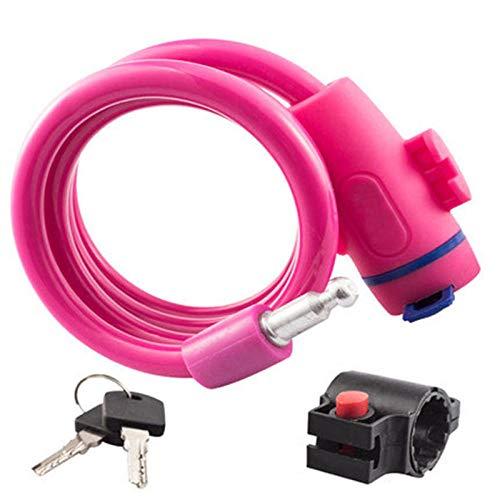 Slot, diefstalbeveiliging, fietsslot, staalkabelspoel voor fiets, motorfiets, fiets, MTB, veiligheidsslot met houder roze
