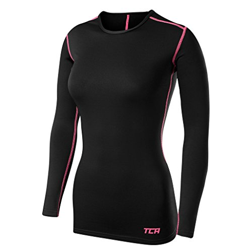 TCA Femme SuperThermal Haut Manches Longues Maillot de Compression Base Layer de Sport - Noir/Rose, M