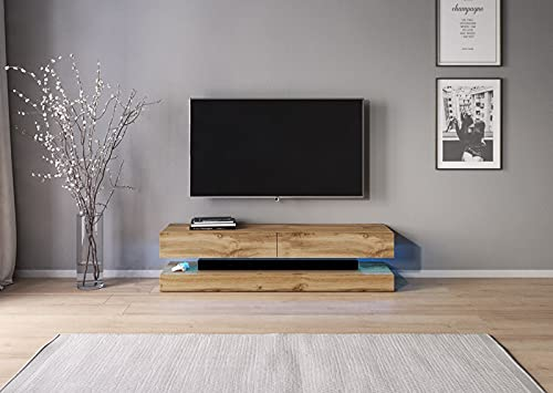 TV Meubel Zwevend Hout 140 Cm Modern - LED - TV Meubel Hangend - Met Opbergvakken - TV Meubel Hout - Stijlvol En Kwaliteit - TV Kast Hout - Perfecthomeshop