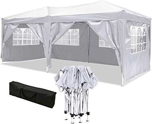 OUTCAMER 3x6m Garden Gazebo Marquee Tent Fully Waterproof Canopy Party Wedding Tent with Side Panels for Outdoor Wedding Garden Party