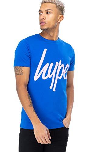 HYPE - Camiseta de Cuello Redondo Azul con Logotipo Rosa