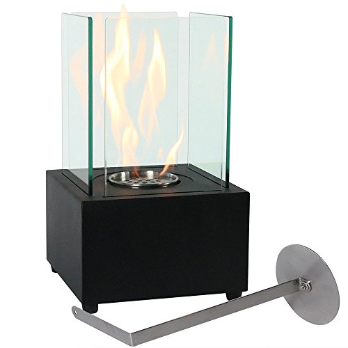 Sunnydaze Cubic Tabletop Fireplace, Indoor Ventless Bio Ethanol Fire Pit, Long Lasting Burn Time, Black