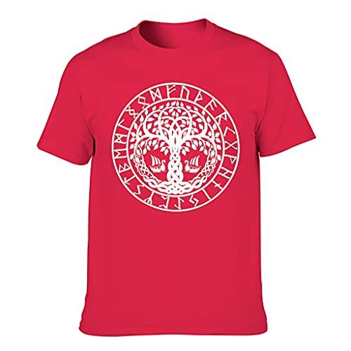 T-HGeschäft Camiseta para hombre con diseño de vikingo Yggdrasil con árbol, dragón, barco escandinavo, runas Red1 XXXXXL
