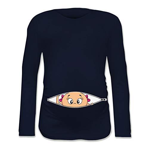 T Shirt Maglia Premaman Bimba Che Esce dalla Zip Blu XL Manica Lunga