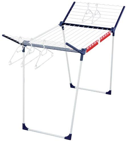 Leifheit Standtrockner Pegasus 200 Solid mit 20 m Trockenlänge für 2 Wäscheladungen, Wäscheständer für lange Wäsche, Flügelwäschetrockner mit Kleinteilehalter, Kleiderbügelstangen und 5 Bügeln
