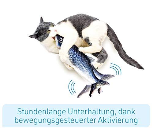 Mediashop Flippity Fish - 2 Stück – elektrisches Katzenspielzeug – Katzenminze - wiederaufladbar mit USB Kabel - Verschiedene Geschwindigkeitsstufen, mit Spielangel | Das Original aus dem TV - 2