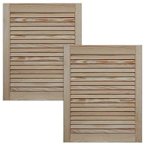 Lamellentür Holztür natur 61,5 x 49,4 cm mit offenen Lamellen für Regale, Schränke, Möbel   Kiefer Holz unbehandelt   Doppel-Paket 2-er Pack
