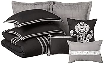 Chic Home Cosmo 8 Piece Comforter Set Embroidered Hotel Collection with Pillow Shams Queen Black