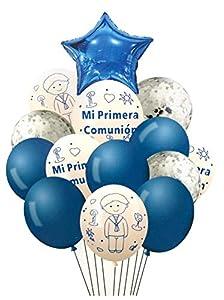 NOBRANDED Set de Globos mi Primera comunion Azul, Varios Modelos, Decoracion para casa, Fiestas de cumpleaños.