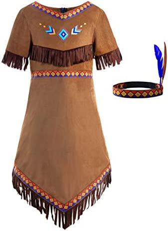 ReliBeauty Girls Native American Costume Kids Indian Costume Dress Outfit 10 12 150 Brown product image