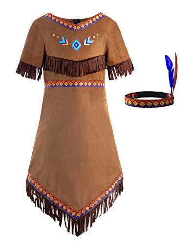 ReliBeauty Indianer Kostüm Kinder Mädchen mit Stirnband,130